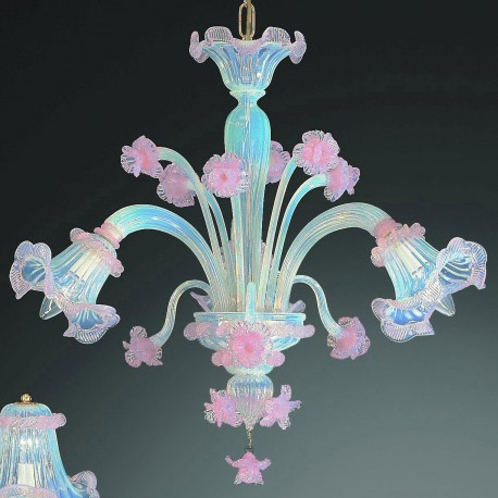 """Minerva"" Murano glass chandelier - 3 lights - opal pink"