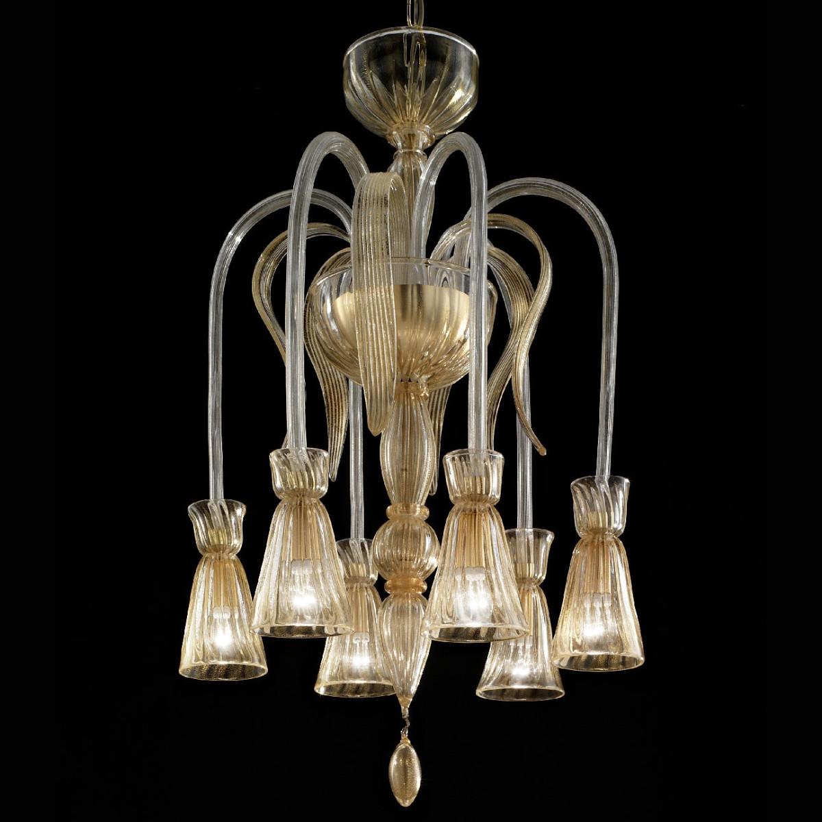 """""""Callisto"""" araña de cristal de Murano - 6 luces - todo oro"""
