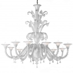 """""""Teseo"""" Murano glass chandelier - 12 lights - white and transparent"""