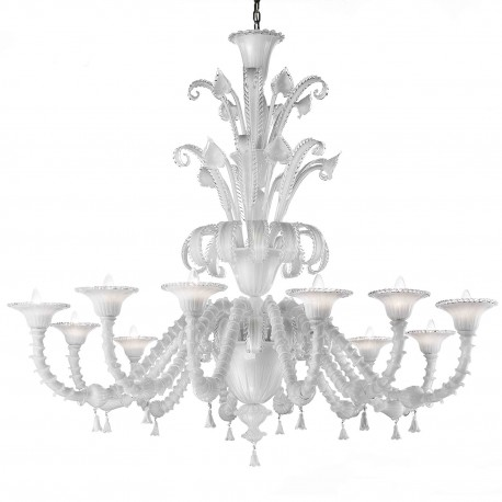 """Teseo"" Murano glass chandelier - 12 lights - white and transparent"
