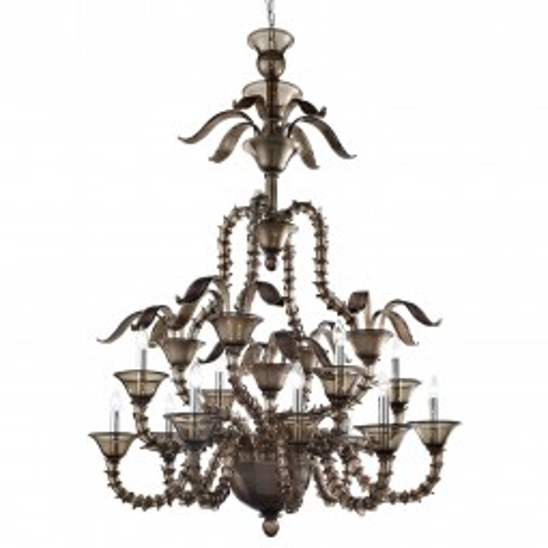 """Giano"" Murano glass chandelier - 8+4 lights - smoke color"