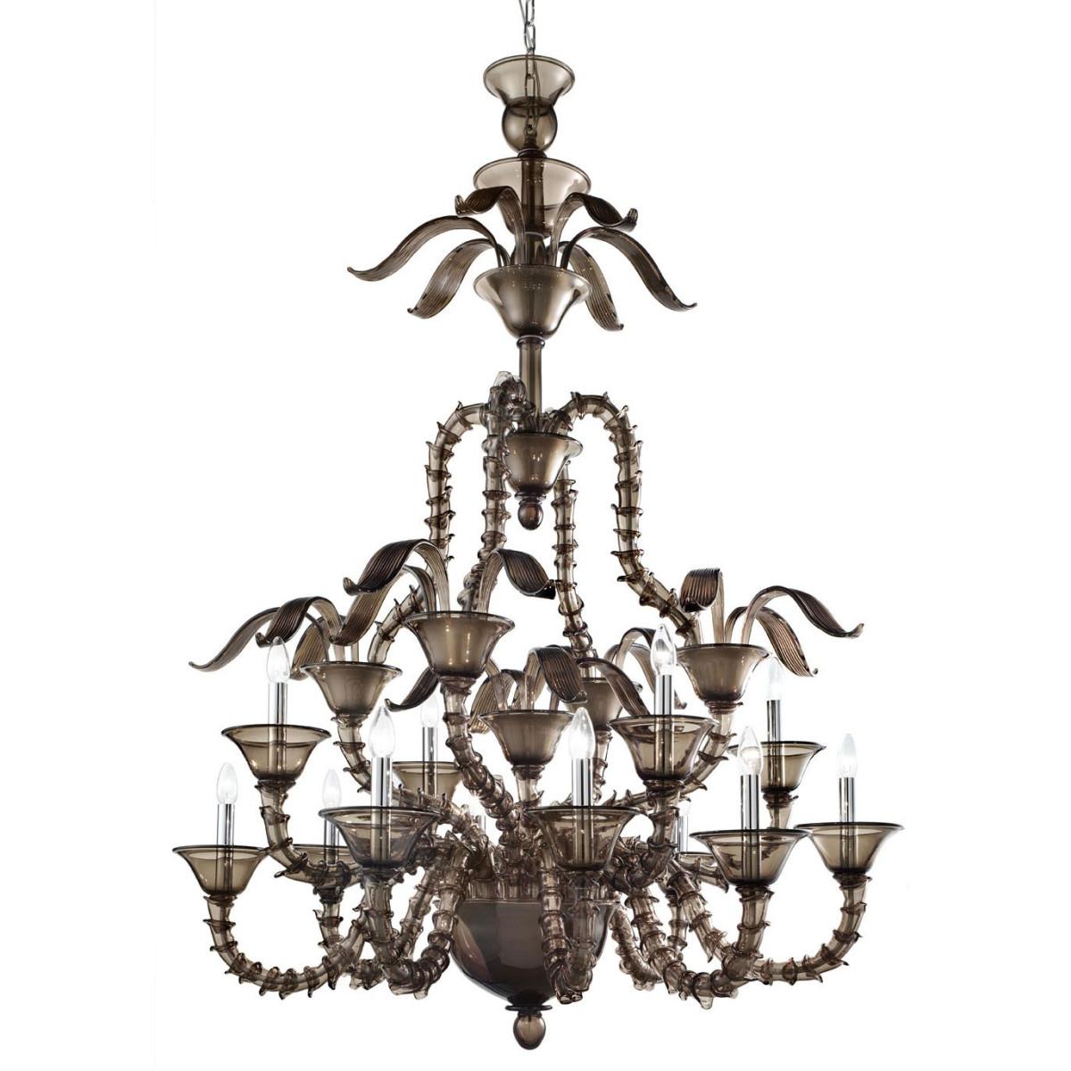 """""""Giano"""" lampara de cristal de Murano - 8+4 luces - gris ahumado"""