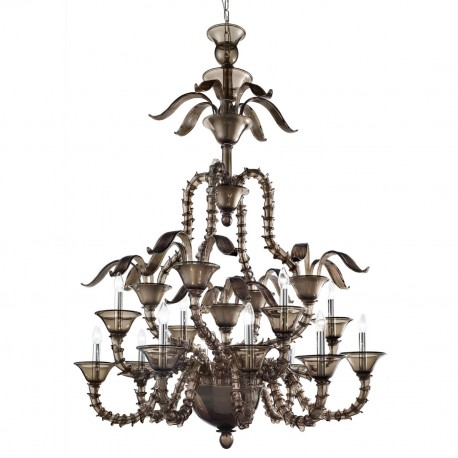 """Giano"" Murano glass chandelier - 8+4 lights - smoke color"