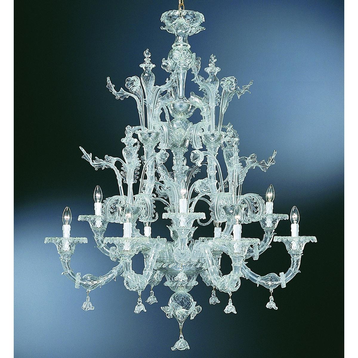 """Maddalena"" lustre en verre de Murano - 6+3 lumieres - transparent - detail"