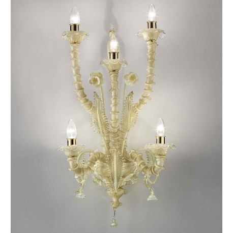 """""""Maddalena"""" Murano glass wall sconce - 5 lights - milky amber and gold"""