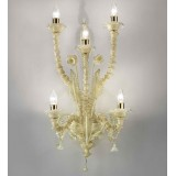 """Maddalena"" Murano glass wall sconce - 5 lights - milky amber and gold"