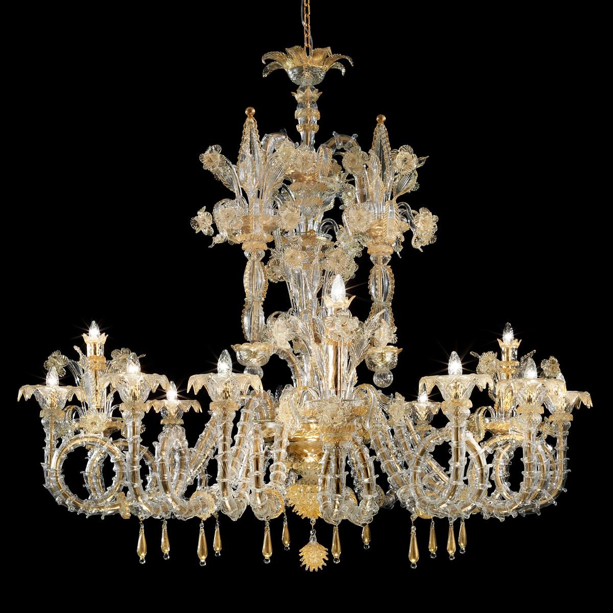 """San Zaccaria"" lustre en verre de Murano - 12 lumieres - transparent or"