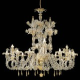 """San Zaccaria"" Murano glass chandelier - 12 lights - transparent gold"