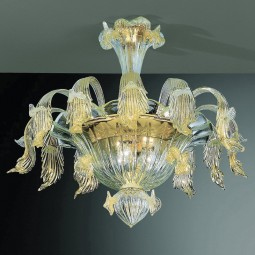 Accademia 6 lights Murano ceiling lamp transparent gold color
