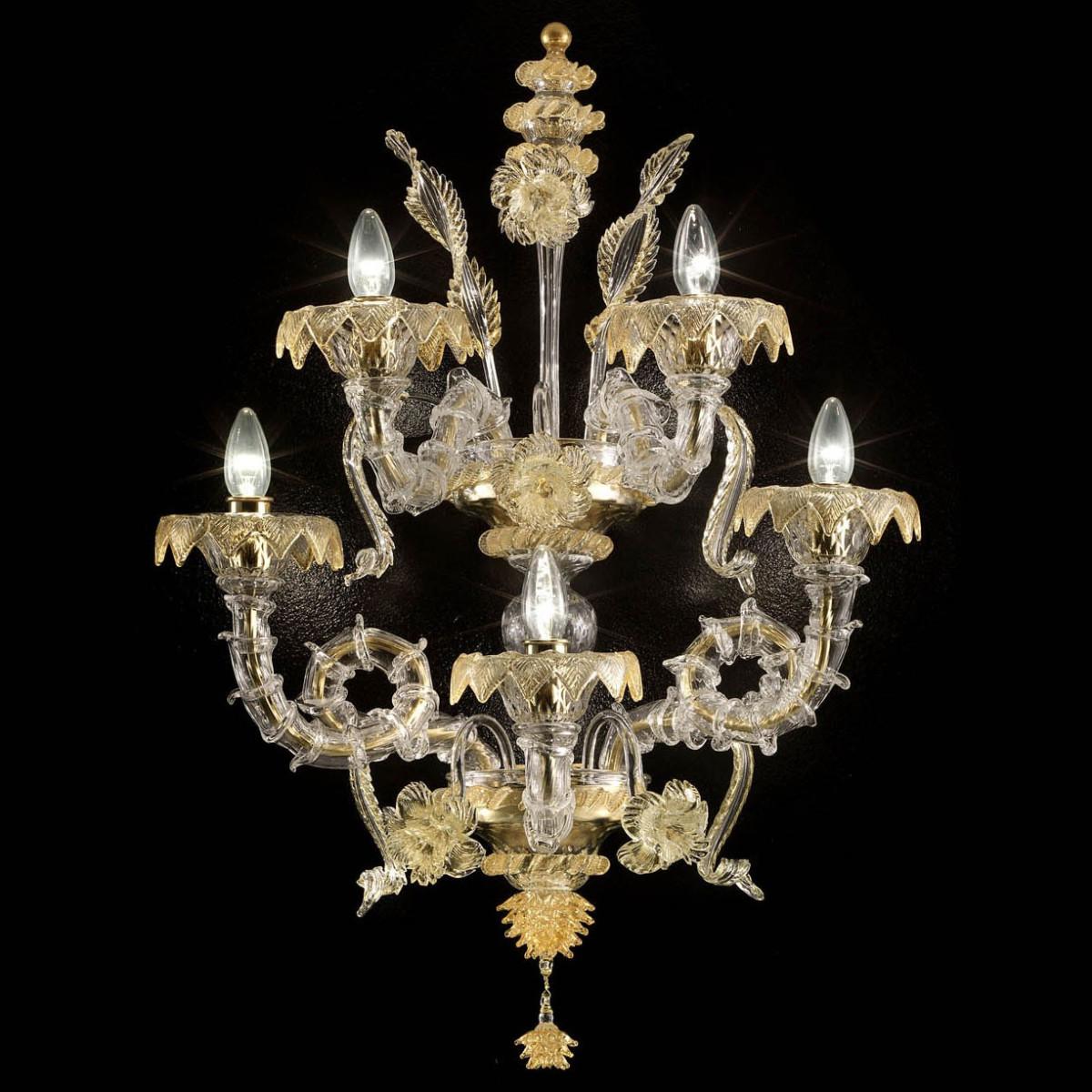 """San Zaccaria"" aplique de Murano - 5 luces - transparente y oro"