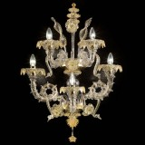 """San Zaccaria"" Murano wall sconce - 3 lights - transparent gold"
