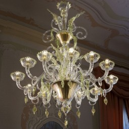 """San Severo"" Murano chandelier - 12 lights - transparent gold, green finishes"