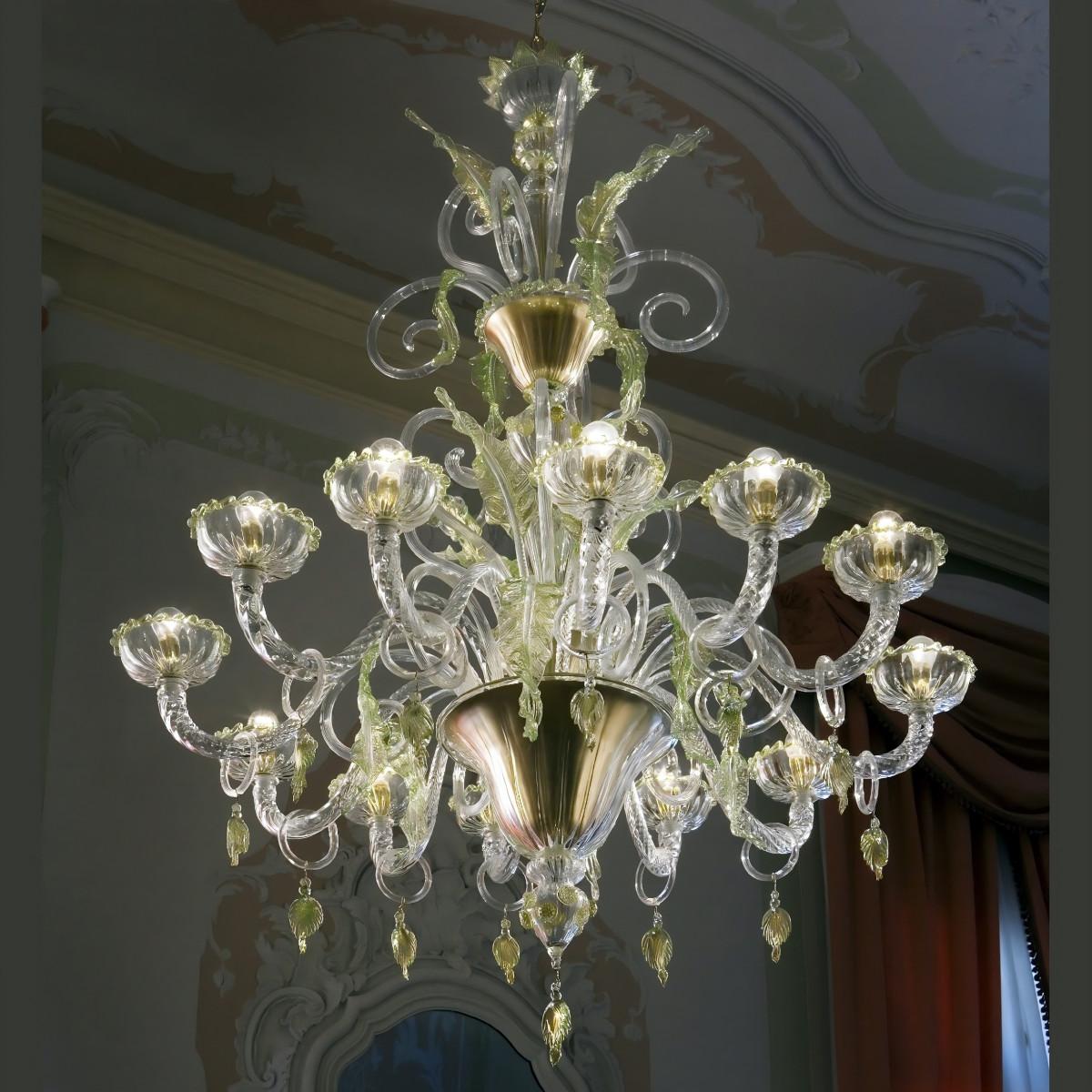 """San Severo"" lustre en verre de Murano - 12 lumiers - transparent or, vert"
