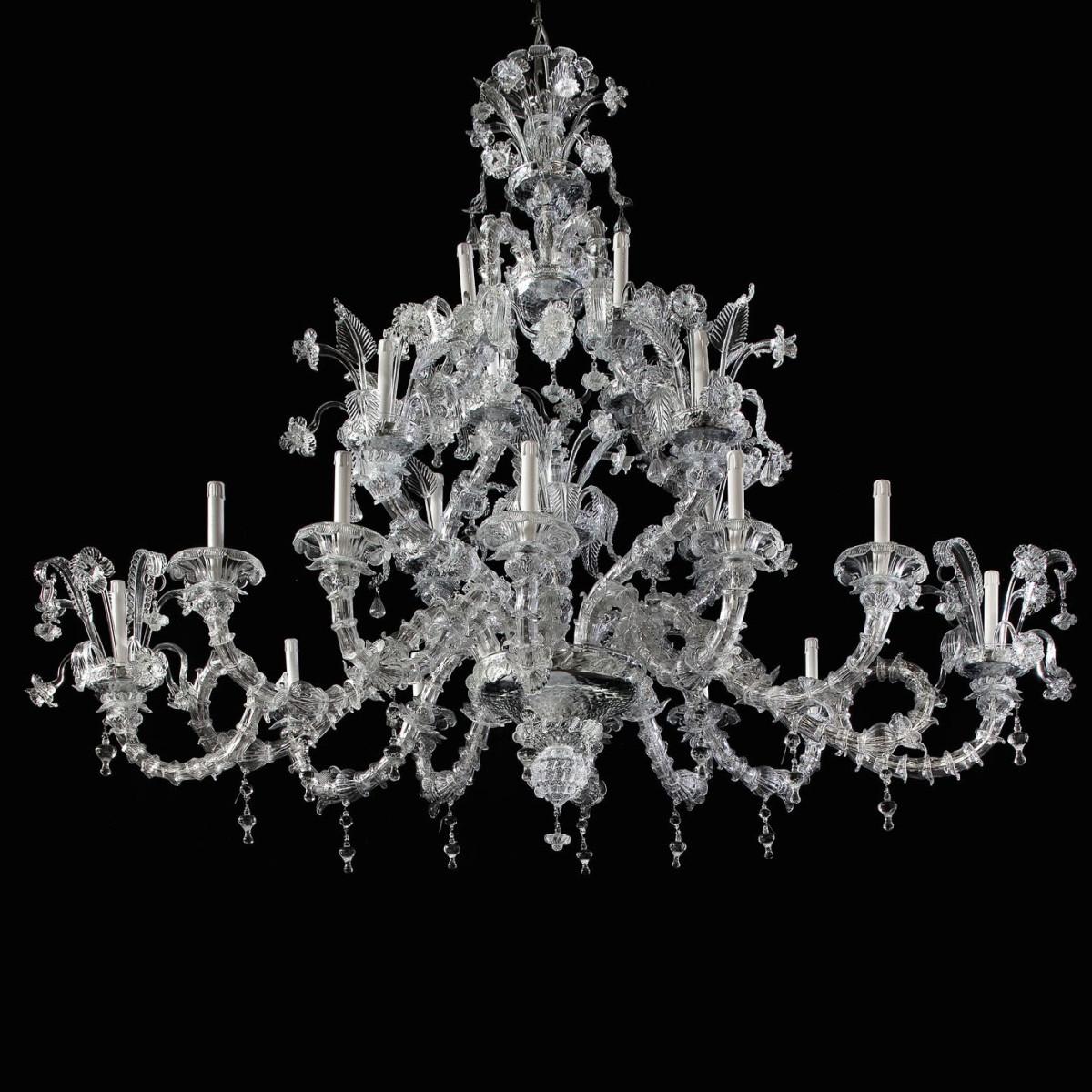 """""""San Giacomo"""" Murano glass chandelier - 20 lights - transparent"""