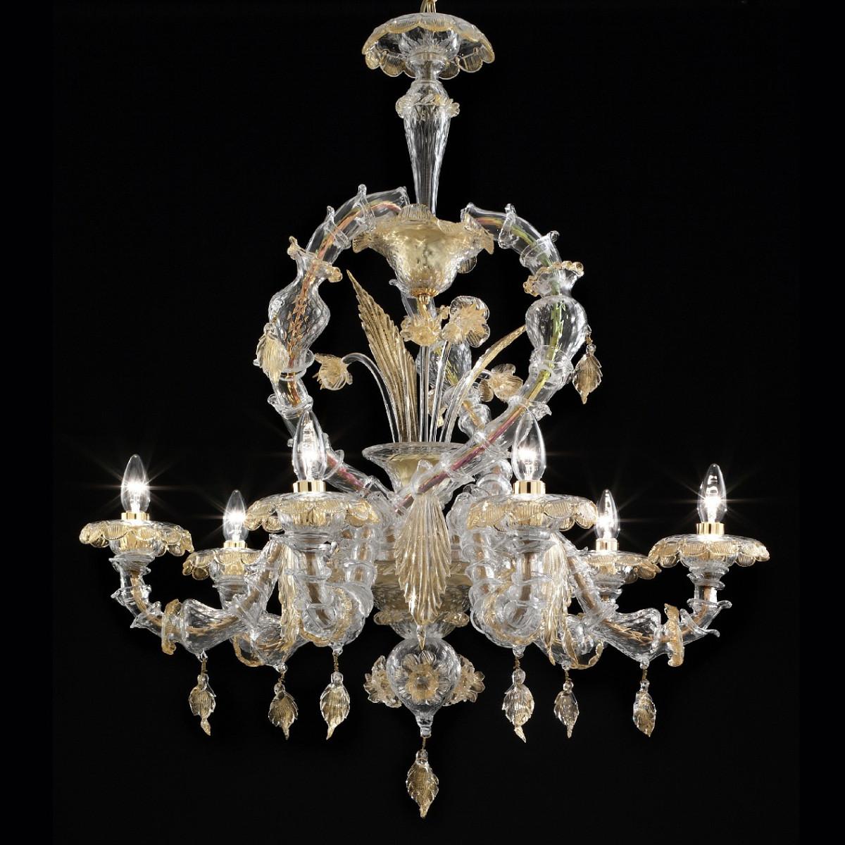 """""""Prospero"""" lustre en verre de Murano - 6 lumieres - transparent et or"""