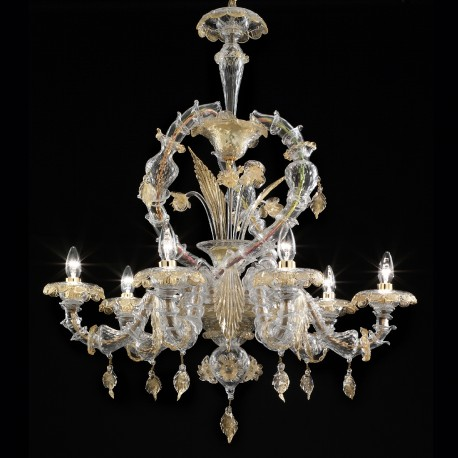 """Prospero"" Murano glass chandelier - 6 lights - transparent and gold"