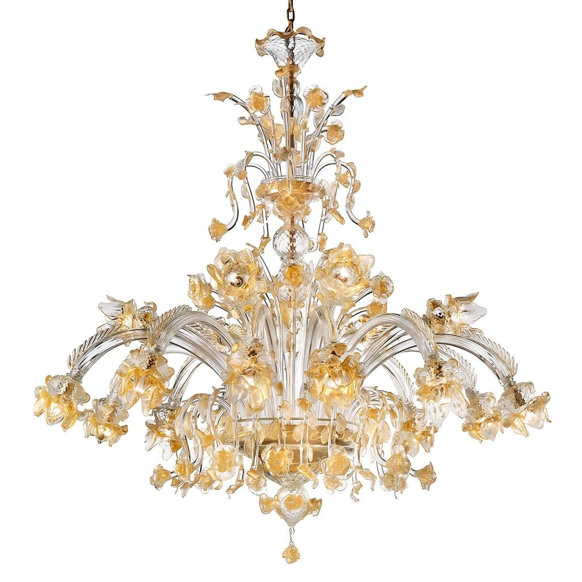 """Rose Dorate"" lampara de cristal de Murano - 12+6 luces - transparente y oro"