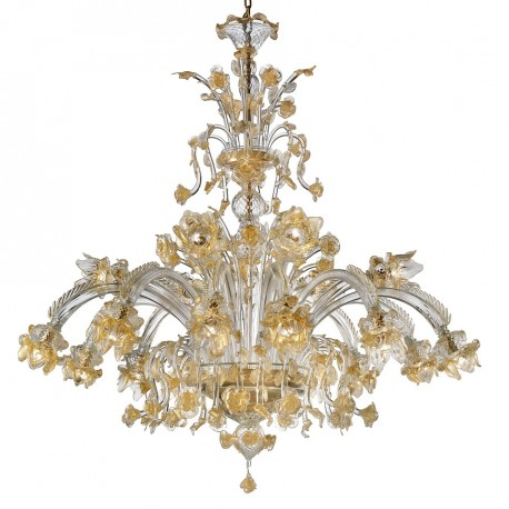 """Rose Dorate"" Murano glass chandelier - 12+6 lights - transparent and gold"
