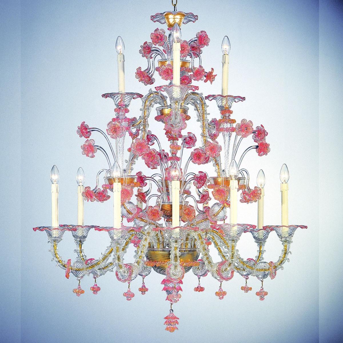 """Cloris"" araña de cristal de Murano - 12 luces - transparente y rosa"