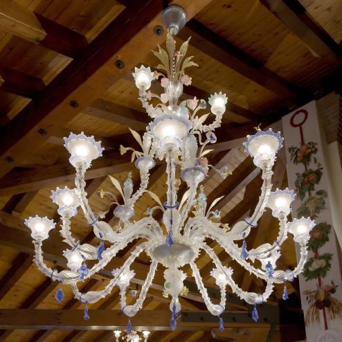 """""""San Francesco"""" lustre en verre de Murano - 15 lumieres - transparent polychrome"""