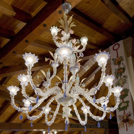 """San Francesco"" Murano glass chandelier - 15 lights - transparent polychrome"