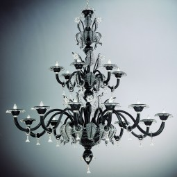 """Santa Lucia"" two tier large Murano glass chandelier - 18 lights - black with transparent trimmings"