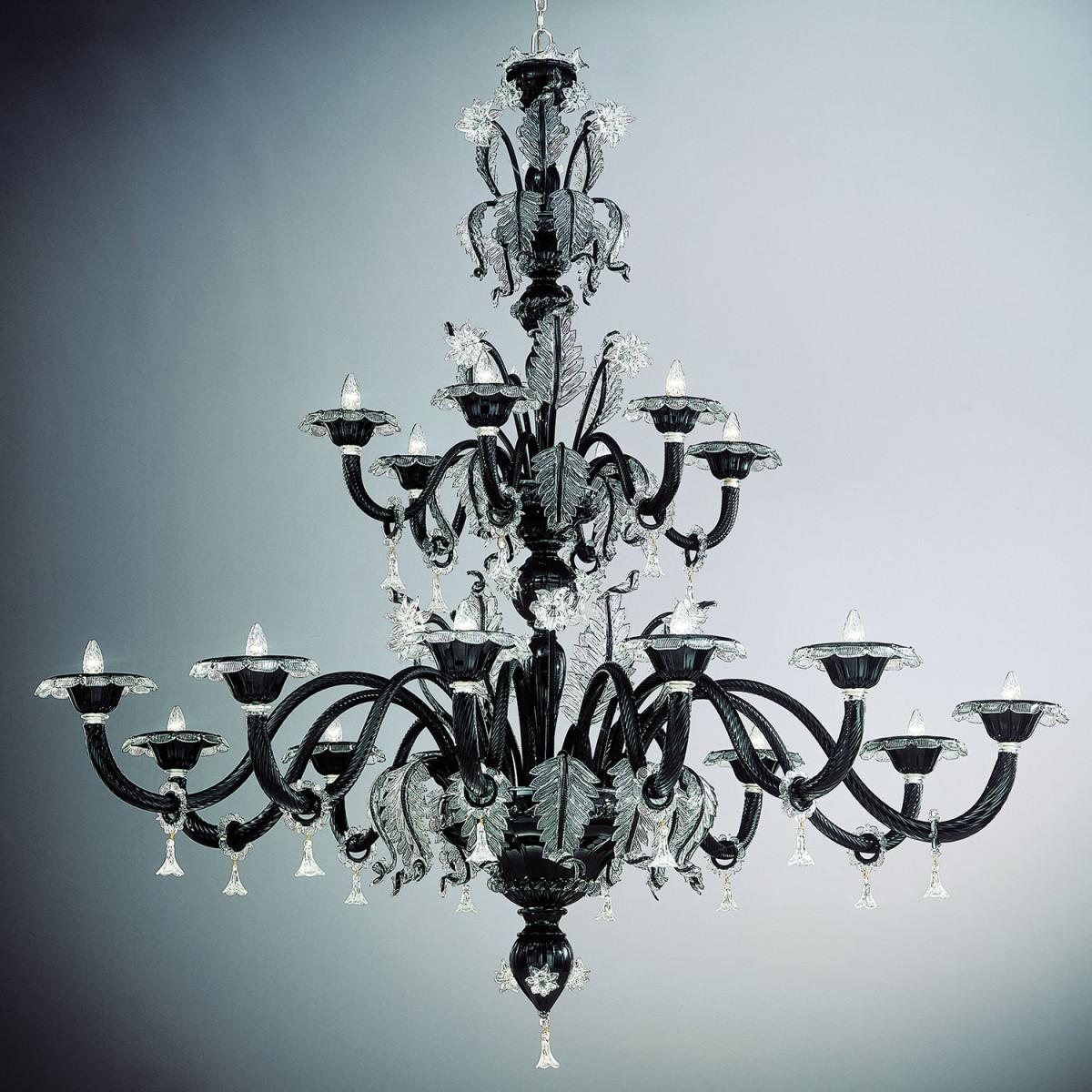 """""""Santa Lucia"""" lustre à deux étages en verre de Murano - 18 lumieres - noir et transparent"""
