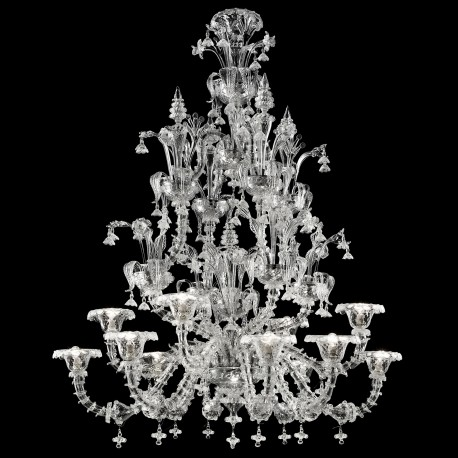 """Ginevra"" Murano glass chandelier - 8+4 lights - transparent"