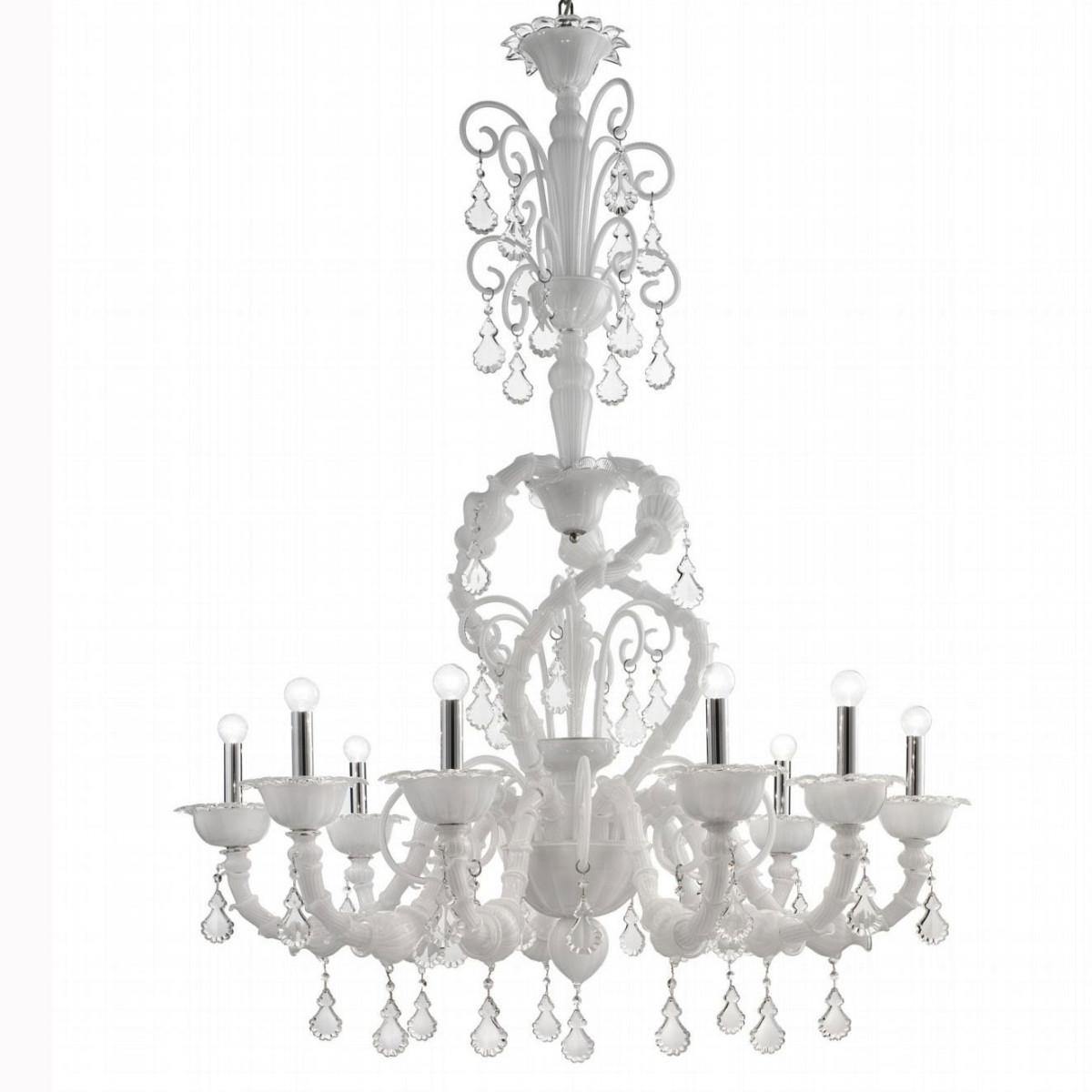 """Neve"" lustre en verre de Murano - 9 lumieres - blanc"