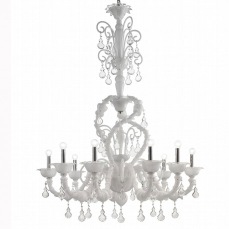"""Neve"" Murano glass chandelier - 9 lights - white"