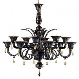 """Griso"" Murano glass chandelier - 12 lights - black and gold"