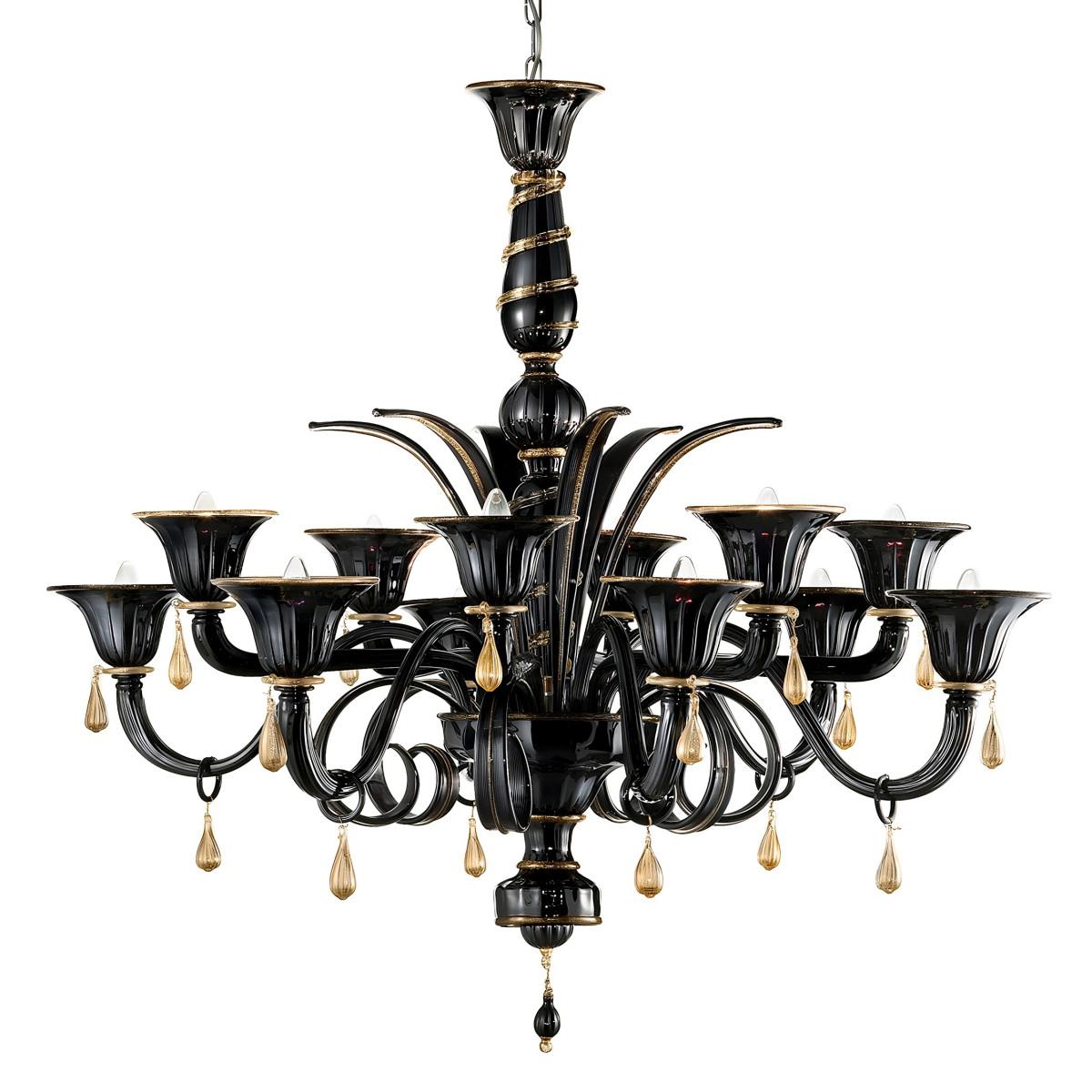 """""""Griso"""" lampara de araña de Murano - 12 luces - negro y oro"""
