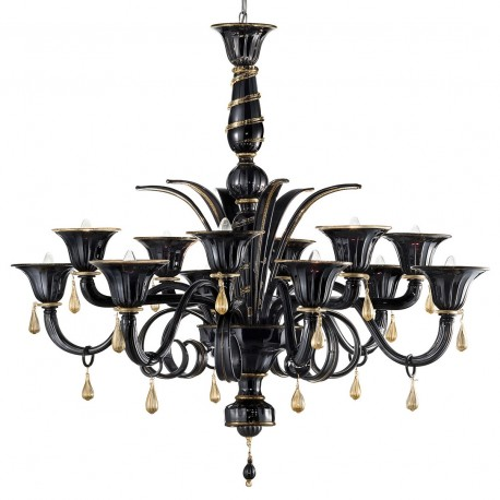 """""""Griso"""" Murano glass chandelier - 12 lights - black and gold"""