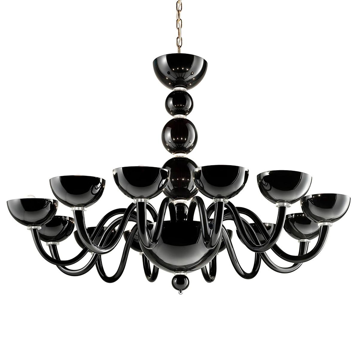 """Raffaello"" lustre en verre de Murano - 12 lumieres - noir"