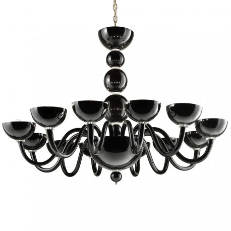 """Raffaello"" Murano glass chandelier - 12 lights - black"