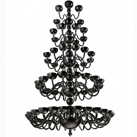 """Raffaello"" 5 tier Murano glass chandelier - 64 lights - black"