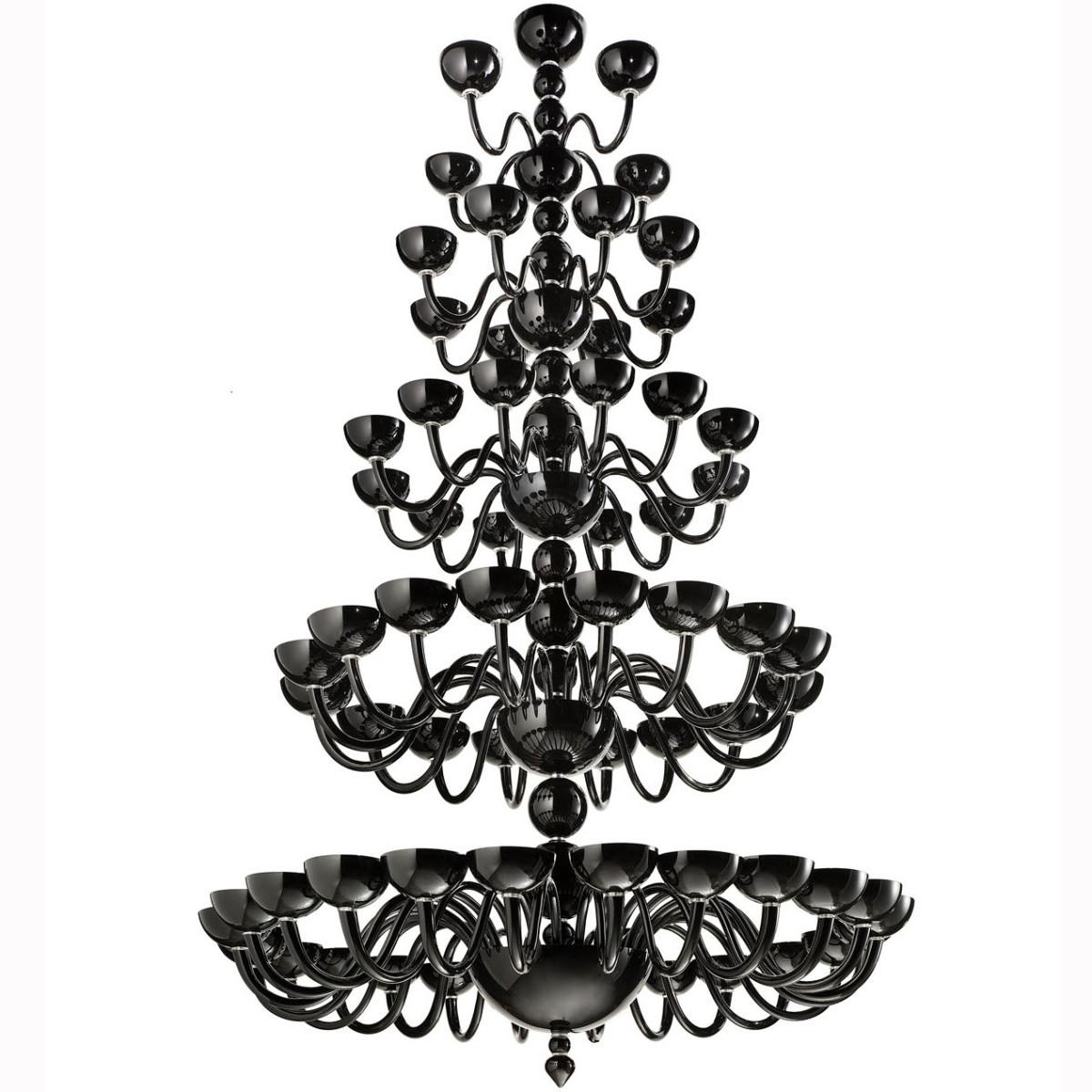 """""""Raffaello"""" lampara de cristal de Murano a cinco niveles - 64 luces - negra"""