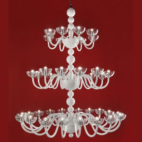 """Raffaello"" 3 tier Murano glass chandelier - 38 lights - white"