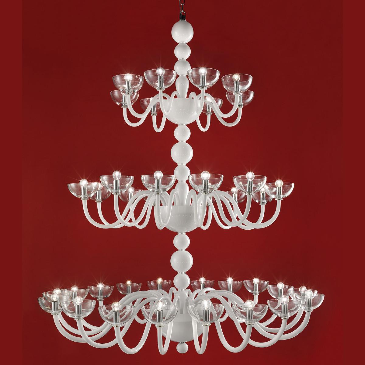 """""""Raffaello"""" lampara de cristal de Murano a tres niveles - 38 luces - blanca"""