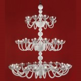 """Raffaello"" 3 tier Murano glass chandelier - 38 lights - white"