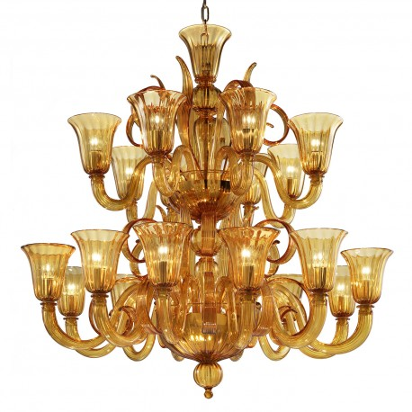 """Diogene"" Murano glass chandelier - 20 lights - amber"