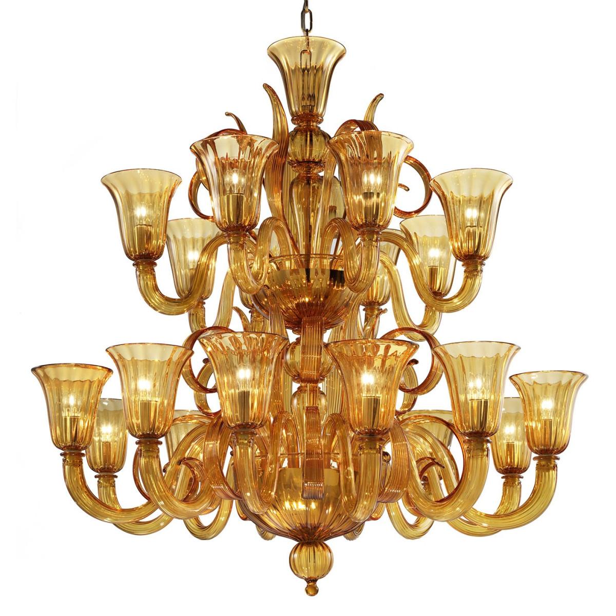 """Diogene"" Murano glass chandelier - 20 lights - amber"