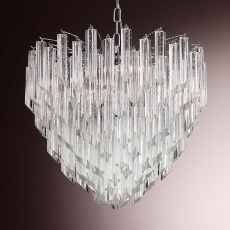 """Nelly"" Murano glass chandelier - 6 lights - transparent"