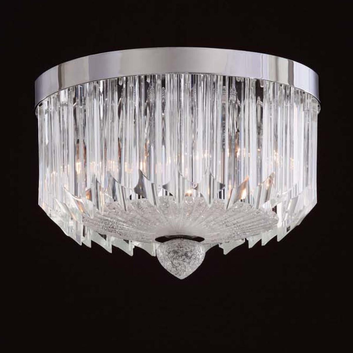 """Whitney"" plafonnier de Murano - 3 lumieres - transparent"
