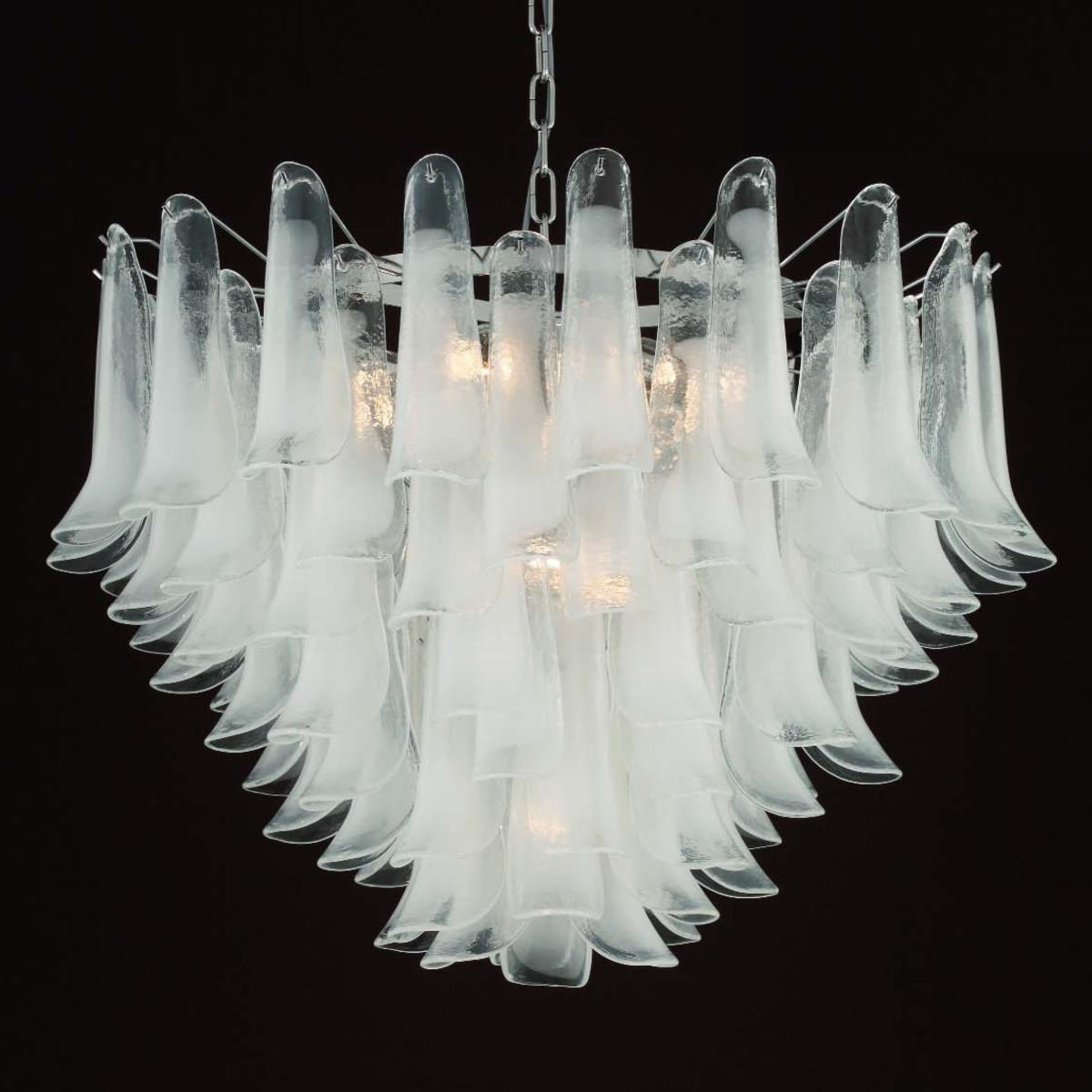 """Calypso"" lampara de cristal de Murano - 13 luces - blanco"