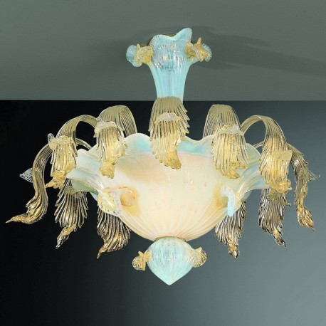 Accademia 6 lights Murano ceiling light - opal and gold color