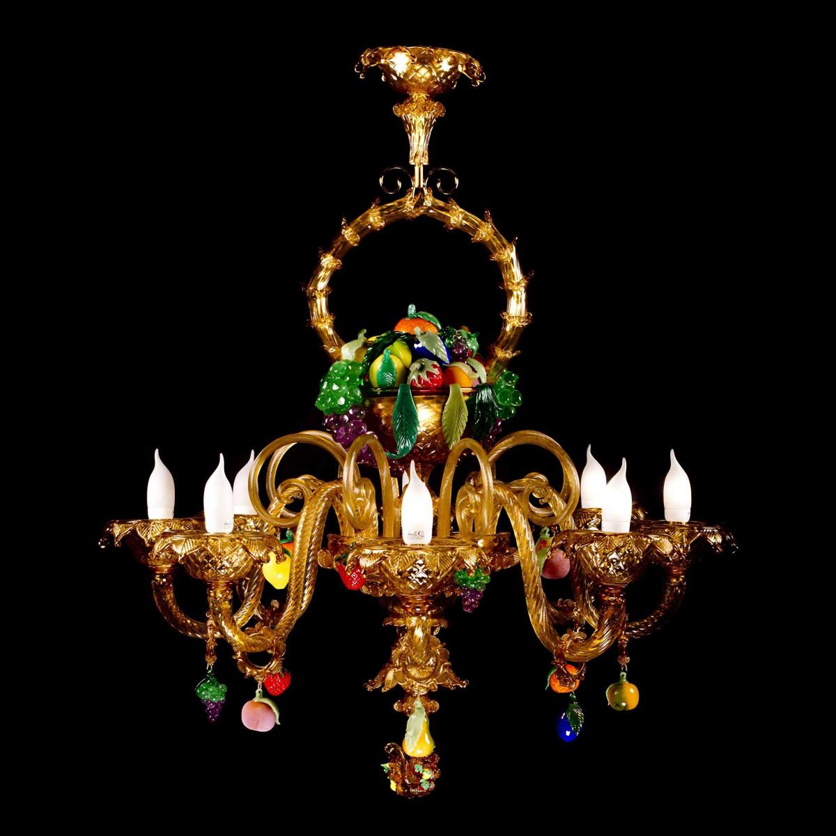 """""""Cesto di frutta"""" lustre en verre de Murano - 8 lumieres - ambre avec fruits colorés"""