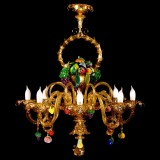 """Cesto di frutta"" Murano glass chandelier - 8  lights - amber with colored fruit"