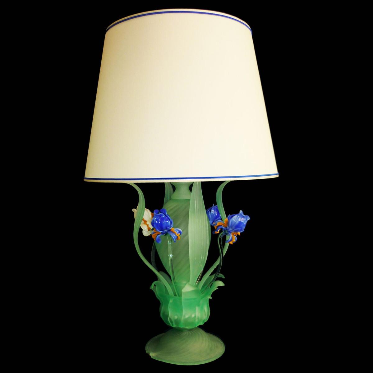 """Iris blu"" lampara de sobremesa de Murano"