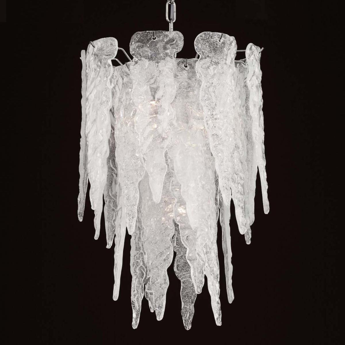 """Stalattite"" lustre en verre de Murano - 4 lumieres"